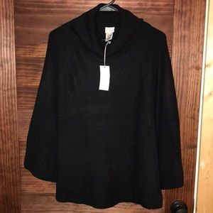 NWT. Black poncho style sweater.